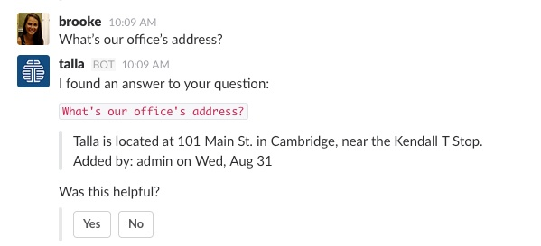 intelligent assistant question and answer slackbot example